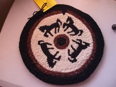 """""""PRANCING HORSES"""" Table/wall mat woven with wool yarns in black,white and brown with poetry card attached. Created by Susan Richardson of Desert Mojo Designs."""
