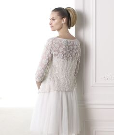 MIA - Draped wedding dress with a short skirt. Collection 2015 MODERN BRIDE    Pronovias