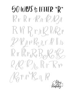 Handlettering R - 50 possibilities for a book . Handlettering R – 50 options for one letter Hand Lettering Fonts, Doodle Lettering, Creative Lettering, Lettering Tutorial, Handwriting Fonts, Penmanship, Brush Lettering Worksheet, Lettering Ideas, Hand Lettering
