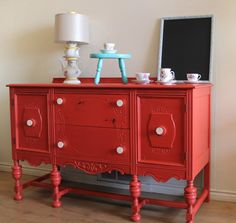 this is the poppy-colored buffet i was referring to if wanting to paint buffet a bold ? or could go all white with pops of accessorizing inspiration furniture arrangement idea Furniture