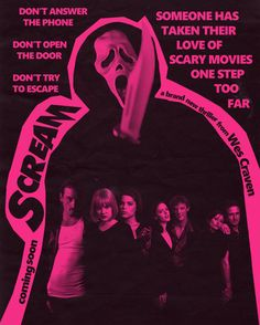 """l-o-o-p-y: """" """"SCREAM opened in theaters December 20 1996. Starring Neve Campbell, Rose McGowan, Courtney Cox, Skeet Ulrich and David Arquette. Written by Kevin Williamson and directed by Wes Craven"""" """""""