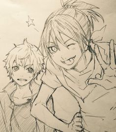 Yato and Yukine!! Yato be whipping out that sexy ponytail <33