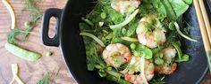 Qooking.ch | Wok de crevettes et légumes verts au citron confit