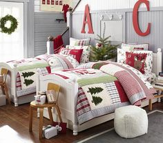 Twin beds...love the initials above the beds