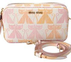 3011a1dcc588 Miu Miu Porch Madras Cat Petalo  Light Pink Goat Skin Leather Cross Body  Bag.