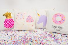 Obsessed with these fun pillow covers that include everything I love-- donuts, unicorns, cupcakes and pineapples!