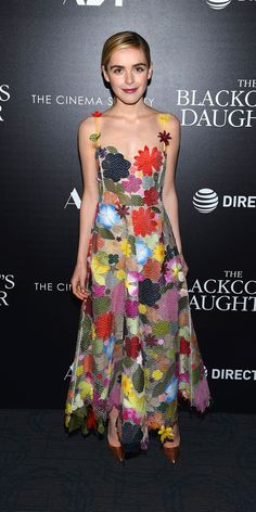 Kiernan Shipka embraced the 70s revival in this colorful mesh floral gown  by Rosie Assoulin at 88edcca1135a