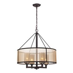 Over Kitchen Table - Elk Lighting 'Diffusion' 4-light Oil-rubbed Bronze Chandelier | Overstock™
