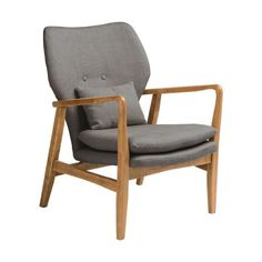 Grey Upholstered Mid Century Scandinavian Armchair at Fusion Living - This Swedish style armchair will complement most interior spaces and styles of decor. It will certainly bring character and comfort to your space. Retro Armchair, Grey Armchair, Yellow Armchair, Swivel Armchair, Modern Armchair, Fabric Armchairs, Glasgow, Wooden House Design, Chairs