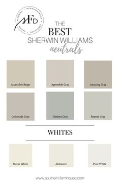 neutral paint colors from Southern Farmhouse Designs! Favorite neutral paint colors from Southern Farmhouse Designs! Favorite neutral paint colors from Southern Farmhouse Designs! Indoor Paint Colors, Exterior Paint Colors, Paint Colors For Home, Off White Paint Colors, Nursery Paint Colors, Best Neutral Paint Colors, Gray Paint, Best Greige Paint Color, Neutral Kitchen Colors