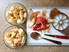 1 Sweet Apple (no green apples allowed) ½ Tbsp Coconut Oil, melted 1 tsp Ground Cinnamon Dash of Ground Nutmeg Small Glass Bowl Plastic Wrap or Lid for the Bowl