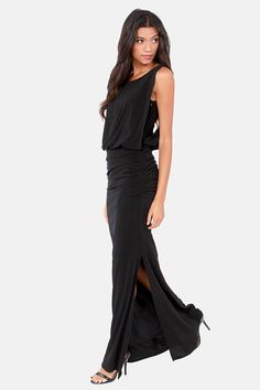 Rubber Ducky Here Comes the Glide Black Maxi Dress at LuLus.com! love this!