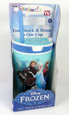 72600bedae9 Disney Frozen SNACK   DRINK CUP BLUE Anna Elsa Olaf Boys Girls Snackeez  SNAKZFR