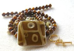 Ceramic Mother of Pearl Czech Riverstone by CatsBeadKitsandMore, $17.99