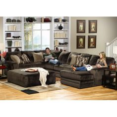 Perhaps a sectional for the upstairs living room....I like the chocolate color and the pillows, and great reviews! From Hom Furniture