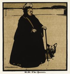 Sir William Nicholson, from Twelve Portraits (First Series). H.M. The Queen,1899.    Nicholson was a talented and varied artist, know equally well for his paintings as for his interior design and printmaking. Nicholson also made up one half of the innovative British poster design team, The Beggardstaff Brothers, along with artist James Pryde.    (via: Tate Gallery)