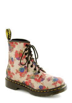 Stomp in the Name of Love Boot -ModCloth.com  My black Docs are a cure all to my floral dresses, but how have I been wearing black dresses and leggings without these?! OMG  #docs #docmartin #docmarten #floral #pastel #pale #gothic #bootlust #bootfetish #fallfashion #modcloth
