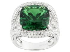 Bella Luce (R) 10.00ctw Emerald and White Diamond Simulants Rhodium Ov