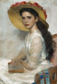 Retrato de uma senhorita Erich Ernst Heilmann (Alemanha, 1924) Pastel sobre papelão, 87 x 61 cm