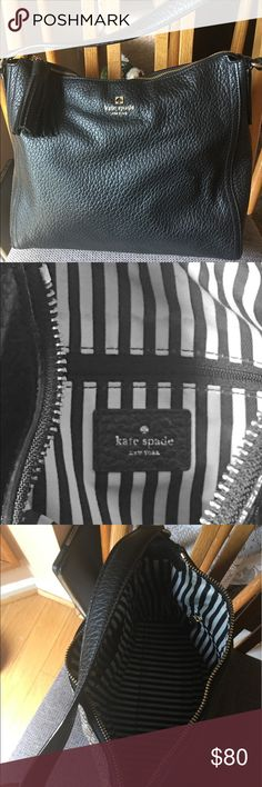 """NWOT Kate Spade New York Large Black Shoulder Bag kate spade was founded in 1993 with six simple handbags that shook up what had been a quiet accessories category. Fifteen years and a handbag revolution later, wit and playful sophistication are hallmarks of everything """"kate spade,"""" a world that now includes a broad array of products. A strong sense of personal style and a passion for color set the tone for each kate spade collection. kate spade Bags Shoulder Bags"""