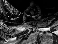 Spoils of War.  US Airborne soldier with what looks like a captured German MG42.