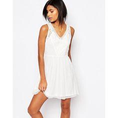 Vero Moda Lace Skater Dress (£25) ❤ liked on Polyvore featuring dresses, white, white dress, lace dress, v neck skater dress, embroidered dress and v-neck dresses