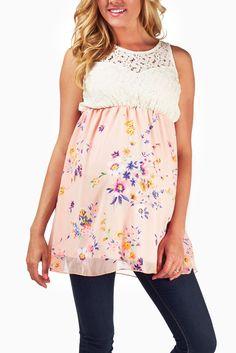 Pink-Floral-Chiffon-Crochet-Top-Maternity-Tank #maternity #fashion