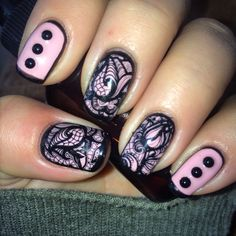 Shellack in baby pink stamped with DRK xl designer plate enlaced n outlined by hand gelish topcoat