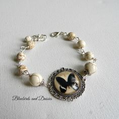 Black Butterfly and White Howlite Bracelet by Bluebirdsanddaisies