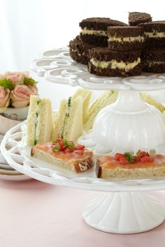 Traditional Finger Sandwiches. Let guests sample these all-time, tea-time sandwich staples. Assortment shown includes cucumber, tuna croissant and smoked salmon on toast.