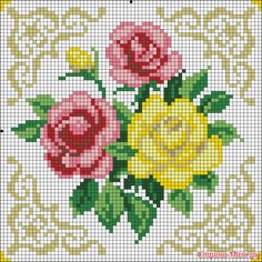 This Pin was discovered by Neş Cross Stitch Pillow, Cross Stitch Rose, Cross Stitch Borders, Cross Stitch Flowers, Cross Stitch Designs, Cross Stitching, Cross Stitch Patterns, Beaded Embroidery, Cross Stitch Embroidery