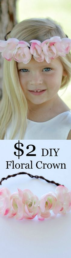 DIY Floral Crown - This beautiful flower crown will cost you less than $2 to make and is perfect for young girls! | www.sincerelyjean.com