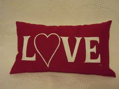 red hand painted Love pillow with a heart. Love by hazelsigns, $40.00