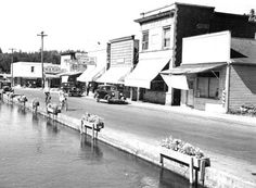 3rd. Street in Downtown Turner, Oregon and its Mill Race, 1947