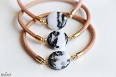 Zebra Jasper and nude leather bracelet