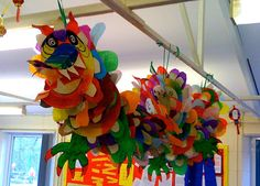 To end with flourish the topic about China with the students of Year at Cherry Garden Primary School we have made a great Chinese dragon using paper plates. Each one has painted her paper plate… New Year's Crafts, Holiday Crafts, Kids Crafts, Arts And Crafts, July Crafts, Classe D'art, Chinese New Year Activities, Chinese New Year Crafts, Chinese New Year Dragon