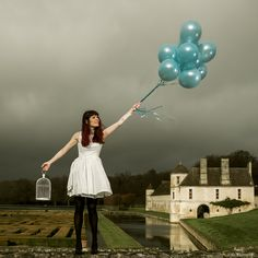 Blue Cheery Freedom     Balloon, woman, fashion, castle, garden