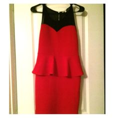 ❤️Adorable red peplum dress!❤️ The black part is mesh. True to a medium. Only been worn once, awesome condition! Charlotte Russe Dresses Mini