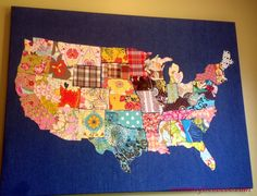 Learn how to make a Fabric USA map with mommy is coocoo. Detailed tutorial will show you how to use your fabric remnants to make a USA Map Map Projects, Quilting Projects, Sewing Projects, Sewing Ideas, Quilting Tutorials, Quilting Ideas, Fabric Remnants, Fabric Scraps, Map Quilt