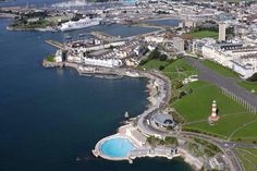 Lovely view of Hoe with Milbay Docks in background