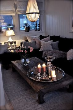 Apartment living- love the color scheme with the grays and blacks and wood