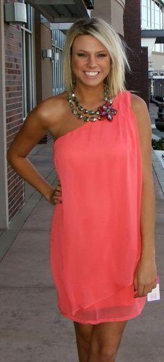 One Shoulder Coral Dress: $34.99-  Flower Necklace: $54.99
