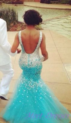 Backless Light Blue Prom Dresses Mermaid Beaded Sequins Bodice Long Tulle 2015 New Style Prom Dress