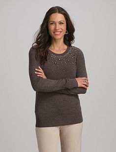 Dress Barn roz & ALI™ Embellished Neck Sweater