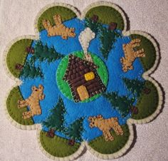 """""""Log Cabin Moose"""" Candle Mat Penny Rug Pine Trees Cottage On A Lake PA"""