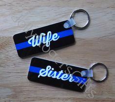Police Wife, Sister, Mom, Custom Key Chain - Rectangle
