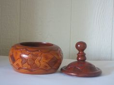 Hand Carved Wooden KnickNack  Bowl with Top by GoGoGrannys on Etsy, $30.00