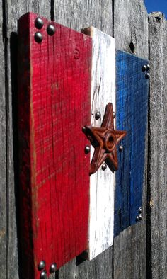 Hey, I found this really awesome Etsy listing at https://www.etsy.com/listing/193750339/rustic-yard-art-hanging-red-white-blue