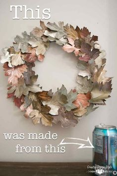 You will be glad you pinned this!  Using soda cans to make DIY metal leaves for a metal wreath.  | Country Design Style | http://countrydesignstyle.com