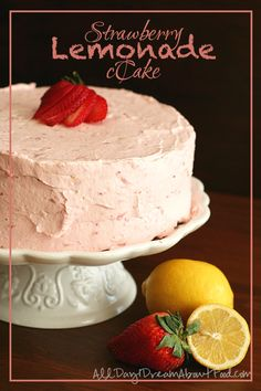 Strawberry Lemonade Layer Cake - my healthy take on a beautiful cake I saw in @Southern Living The frosting alone is worth it!
